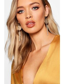 Coin Metal Tassel Earrings by Boohoo