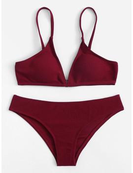 V Plunge Plain Bikini Set by Shein