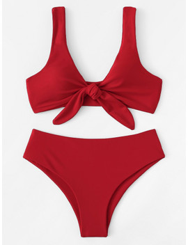 Knot Front Plain Bikini Set by Shein