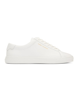 White Lace Up Sneakers by Saint Laurent