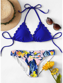 Scallop Edge Mix And Match Bikini Set by Shein