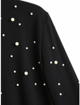 Ribbed Flare Sleeve Faux Pearls Sweater   Black M by Zaful