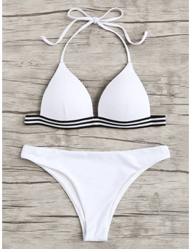 Stripe Contrast Halter Bikini Set by Shein