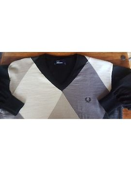 Fred Perry Genuine Long Sleeve Cotton Summer Jumper Black Diamond Retro Mod by Ebay Seller