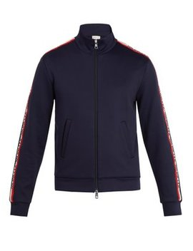 Hooded Logo Stripe Jersey Jacket by Moncler