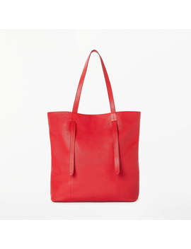 John Lewis Cecilia Leather North/South Tote Bag, Red by John Lewis
