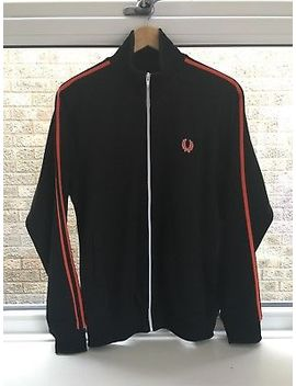 Fred Perry Twin Taped Black / Orange Vintage Track Jacket   Large by Ebay Seller
