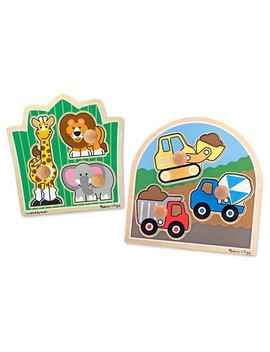 Melissa & Doug® Jumbo Knob Wooden Puzzles Set   Construction And Safari 6pc by Shop All Melissa & Doug