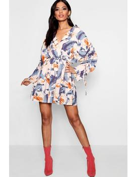 Daisy Ruched Sleeve Wrap Front Shirt Dress by Boohoo