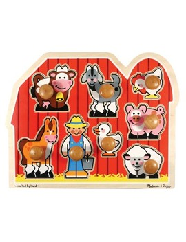 Melissa & Doug® Farm Animals Jumbo Knob Wooden Puzzle 8pc by Shop All Melissa & Doug