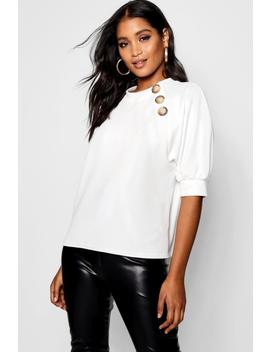 Mock Horn Detail High Neck Top by Boohoo