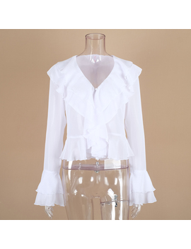 Ootn Sexy V Neck Chiffon Blouse Women Cascading Ruffle Long Sleeve Shirts White Tops Female Summer Casual Blouses 2018 Chemise  by Ootn