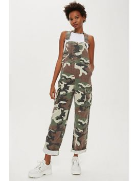 Camo Print Dungarees by Topshop