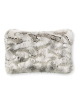Faux Fur Lumbar Pillow Cover, Gray Fox by Williams   Sonoma