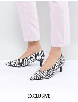 Monki Kitten Heel Zebra Shoe by Monki