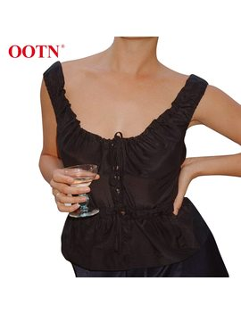 Ootn Lace Up Black Silk Satin Tank Tops Peplum Ruched Sleeveless Female Top 2018 Casual Summer Women Tunic Shirt Fashion Vest by Ootn
