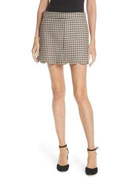 Plaid Scallop Hem Wool Blend Skirt by Red Valentino