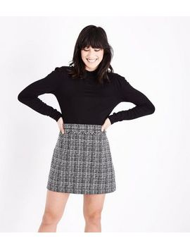 Grey Boucle Check Mini Skirt by New Look