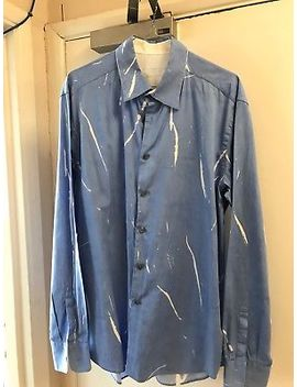Mens Blue (With White Lines) Prada Shirt  Size 42, 16.5in Neck. 100 Percents Cotton by Ebay Seller