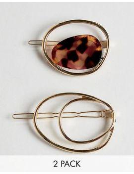 Asos Design   Set Van 2 Abstracte Baretvormige Haarspelden Met Kunstglas by Asos