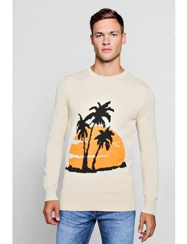 Palm Intarsia Knitted Jumper by Boohoo