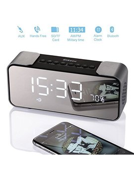 Alarm Clocks With Wireless Bluetooth Speaker And Mirror, Stereo Sound, Built In Bass, Led Nightstand Clock And Large Led Dimmable Display, A Best Speaker For Indoor And Outdoor Activities No Fm by Dikaou