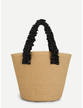 Contrast Frill Strap Straw Tote Bag by Sheinside
