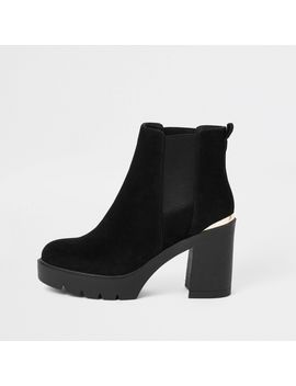 Black Chunky Chelsea Boots by River Island