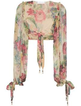 Melody Floral Print Cropped Silk Blouse by Zimmermann