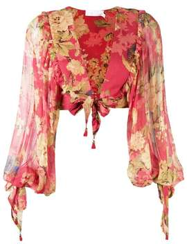 Floral Draped Blouse by Zimmermann