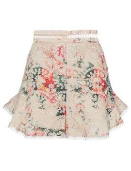 Zimmermann Laelia Floral Print Embroidered Cotton Shortshome Women Zimmermann Clothing Short Shorts by Zimmermann