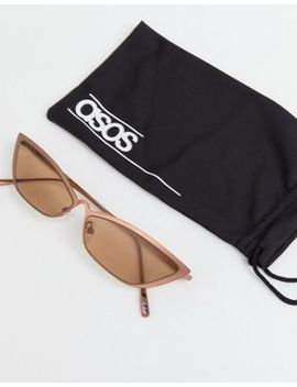 Asos Design   Kleine Metalen Gehoekte Cat Eye Modebril by Asos
