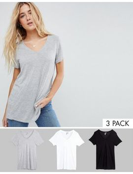 Asos Design V Neck Swing T Shirt 3 Pack Save 8 Percents by Asos Design