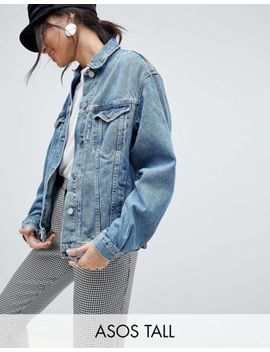 Asos Design   Extra Lang Denim Girlfriend Jack In Mid Wash Blauw by Asos