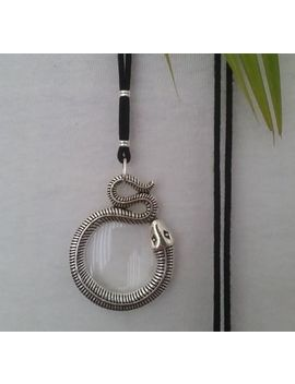 Magnifying Glass Statement Necklace Pendant Snake Silver Cord Black Long Adjust by Magnifique   Hand Made