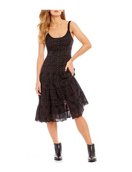 Hook And Eye Corset Eyelet Lace Western Midi Dress by Generic