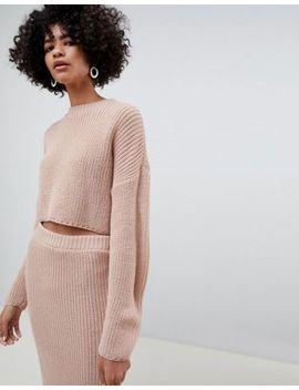 Asos Design   Combi Set Met Geribbelde Cropped Oversized Trui by Asos