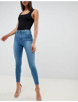 Asos Design   Ridley   Skinny Jeans Met Hoge Taille In Groenblauwe&Nbsp;Wassing by Asos