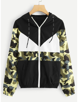 Camo Panel Zip Up Jacket by Sheinside