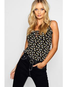 Ditsy Floral Ruffle Lace Up Cami by Boohoo