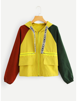 Plus Colorblock Hooded Jacket by Sheinside