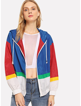 Color Block Drawstring Hoodie Jacket by Shein