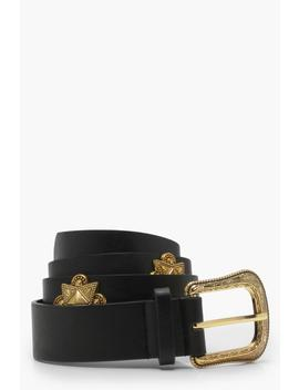 Skinny Studded Pu Belt by Boohoo