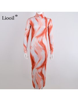 Liooil Sexy Bodycon Print Midi Dress Women Clothes Autumn Winter Fashion 2018 Long Sleeve Sheath Turtleneck Party Womens Dresses by Liooil