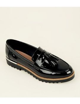 Black Patent Tassel Front Chunky Loafers by New Look