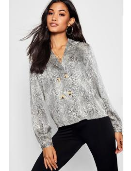 Printed Button Wrap Blouse by Boohoo