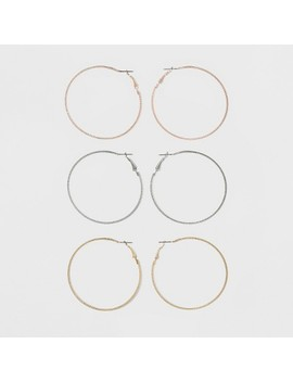 Textured Metal Hoop Earring Set 3ct   Wild Fable™ by Shop All Wild Fable™