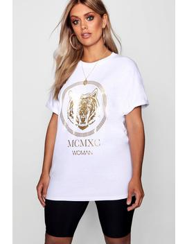 Plus Tiger Foil Print T Shirt by Boohoo