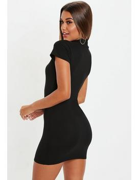 Black Cap Sleeve High Neck Mini Dress by Missguided