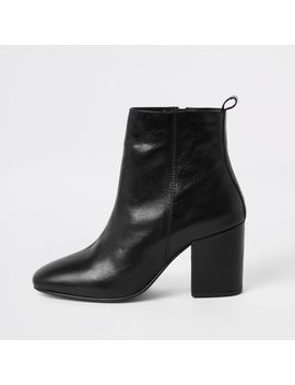 Black Leather Square Toe Boots by River Island